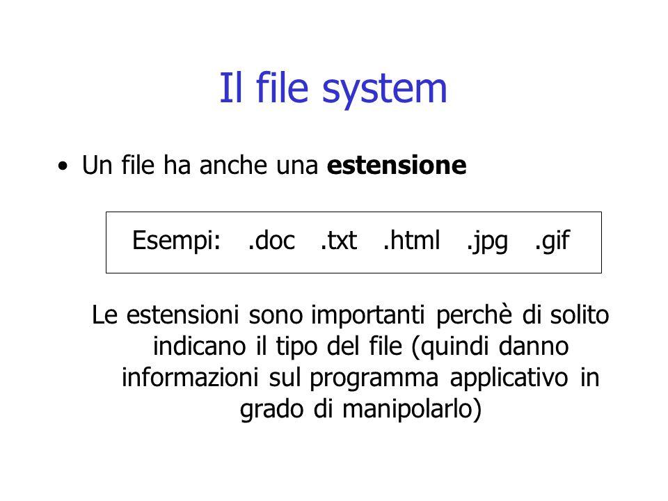 Il file system Un file ha anche una estensione Esempi:.doc.txt.html.jpg.gif Le estensioni sono importanti perchè di solito indicano il tipo del file (