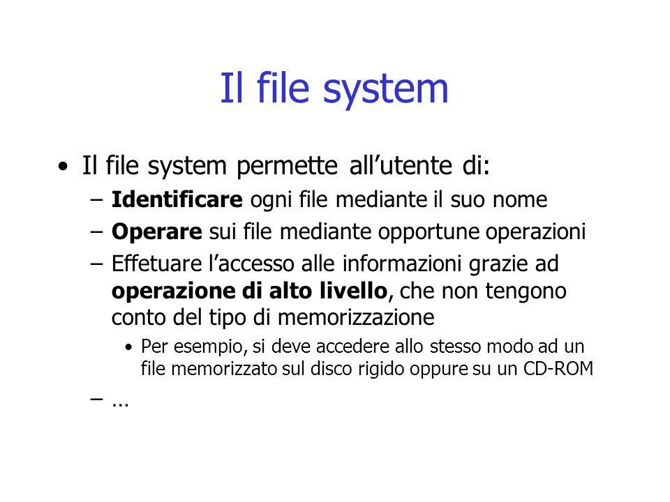 Il file system Il file system permette all'utente di: –Identificare ogni file mediante il suo nome –Operare sui file mediante opportune operazioni –Ef