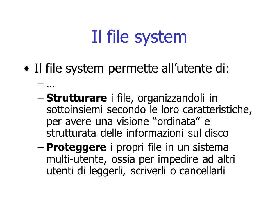 Il file system Il file system permette all'utente di: –… –Strutturare i file, organizzandoli in sottoinsiemi secondo le loro caratteristiche, per aver