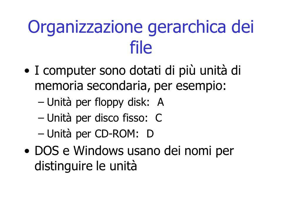 Organizzazione gerarchica dei file I computer sono dotati di più unità di memoria secondaria, per esempio: –Unità per floppy disk: A –Unità per disco