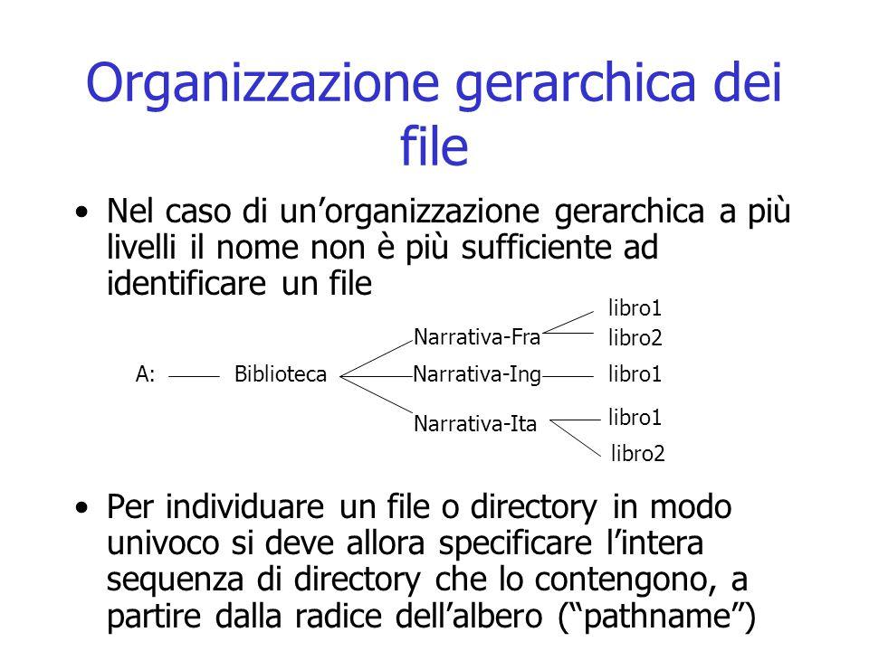 Organizzazione gerarchica dei file Nel caso di un'organizzazione gerarchica a più livelli il nome non è più sufficiente ad identificare un file Per in