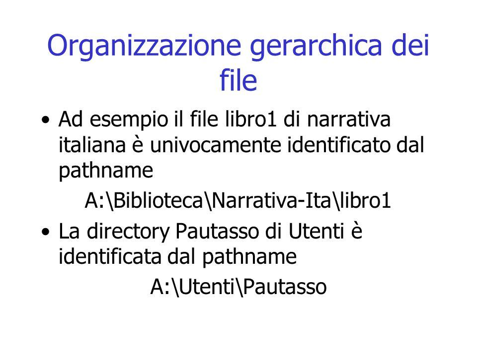 Organizzazione gerarchica dei file Ad esempio il file libro1 di narrativa italiana è univocamente identificato dal pathname A:\Biblioteca\Narrativa-It