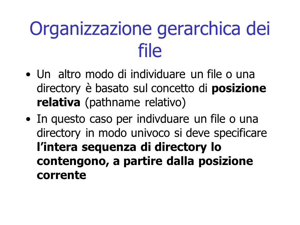 Organizzazione gerarchica dei file Un altro modo di individuare un file o una directory è basato sul concetto di posizione relativa (pathname relativo
