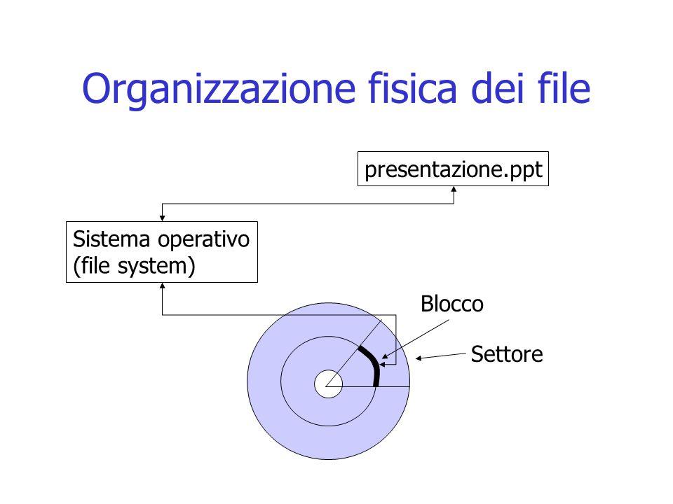 Organizzazione fisica dei file Blocco Settore Sistema operativo (file system) presentazione.ppt