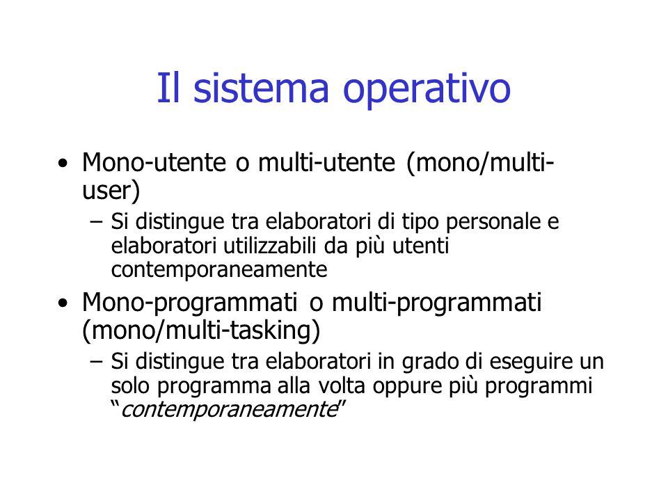 Il sistema operativo Mono-utente o multi-utente (mono/multi- user) –Si distingue tra elaboratori di tipo personale e elaboratori utilizzabili da più u