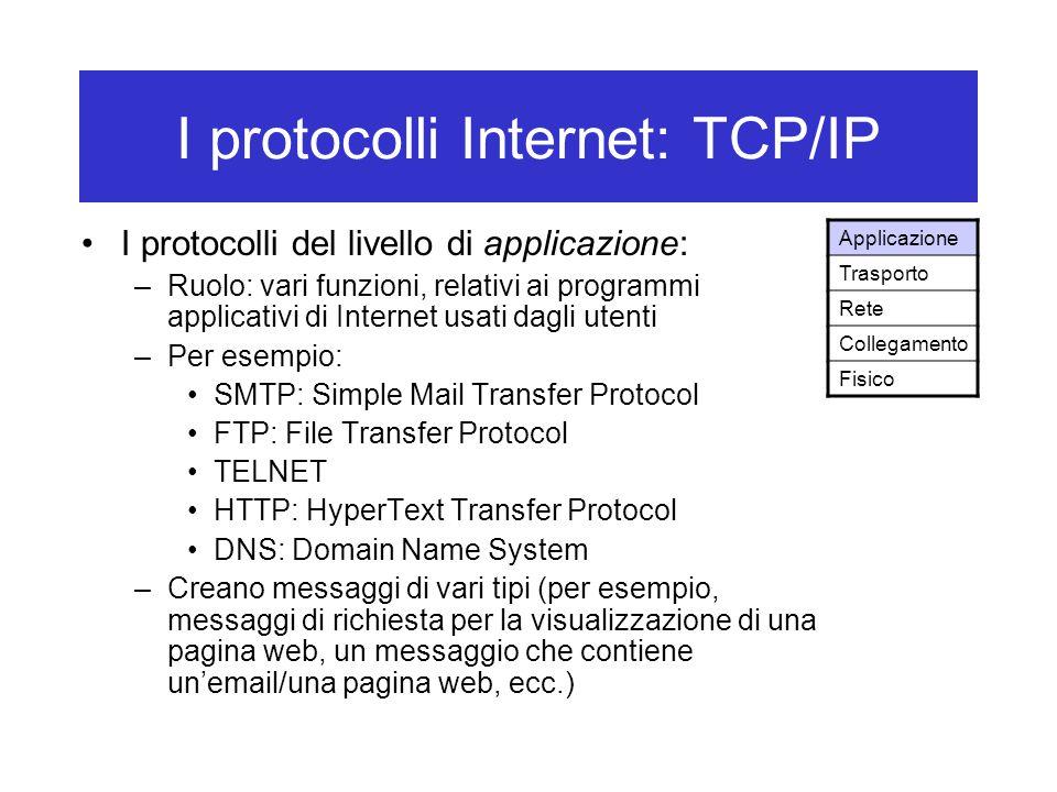 I protocolli Internet: TCP/IP I protocolli del livello di applicazione: –Ruolo: vari funzioni, relativi ai programmi applicativi di Internet usati dagli utenti –Per esempio: SMTP: Simple Mail Transfer Protocol FTP: File Transfer Protocol TELNET HTTP: HyperText Transfer Protocol DNS: Domain Name System –Creano messaggi di vari tipi (per esempio, messaggi di richiesta per la visualizzazione di una pagina web, un messaggio che contiene un'email/una pagina web, ecc.) Applicazione Trasporto Rete Collegamento Fisico