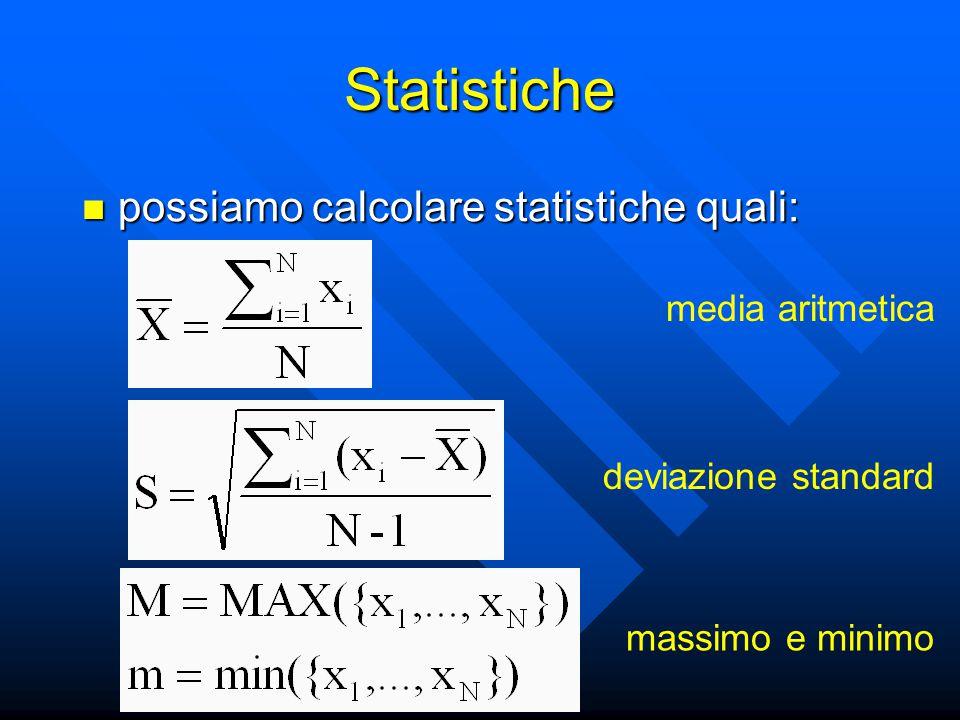 Statistiche possiamo calcolare statistiche quali: possiamo calcolare statistiche quali: media aritmetica deviazione standard massimo e minimo