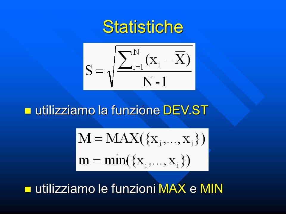 Statistiche utilizziamo la funzione DEV.ST utilizziamo la funzione DEV.ST utilizziamo le funzioni MAX e MIN utilizziamo le funzioni MAX e MIN