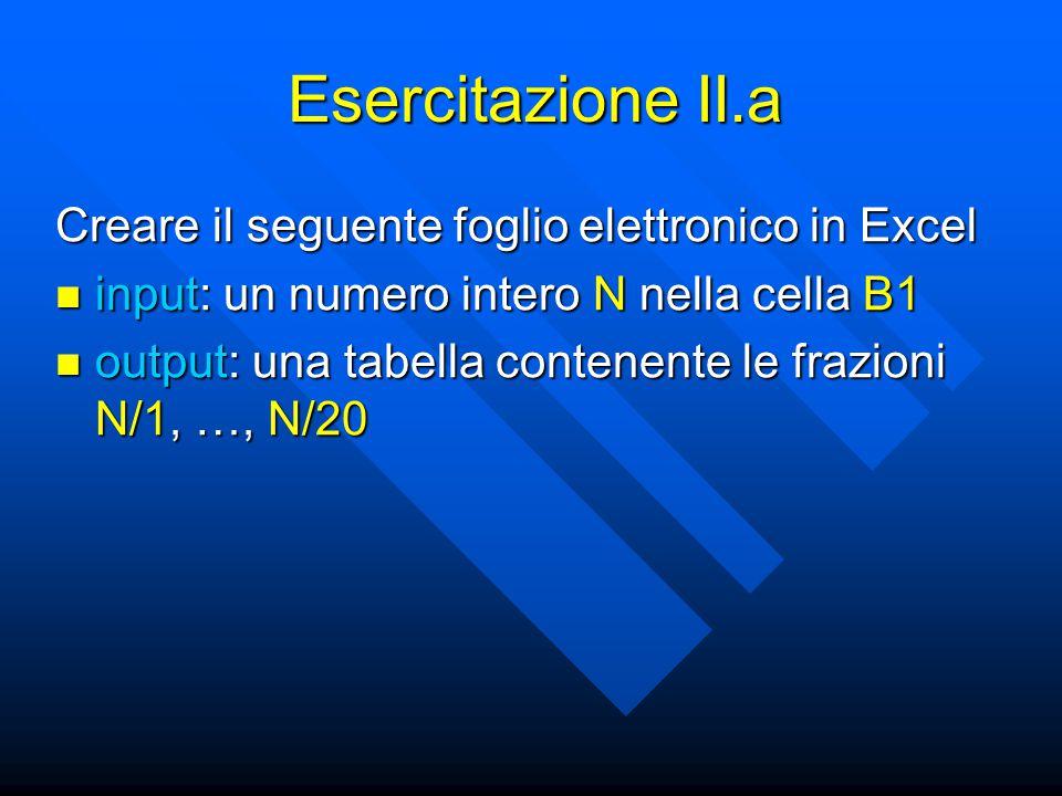 Esercitazione II.a Creare il seguente foglio elettronico in Excel input: un numero intero N nella cella B1 input: un numero intero N nella cella B1 output: una tabella contenente le frazioni N/1, …, N/20 output: una tabella contenente le frazioni N/1, …, N/20