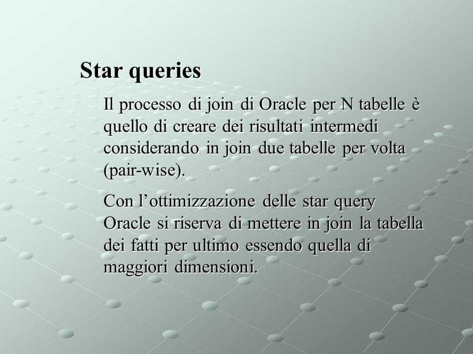 Star queries Il processo di join di Oracle per N tabelle è quello di creare dei risultati intermedi considerando in join due tabelle per volta (pair-w