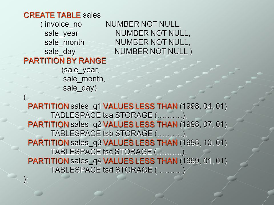 CREATE TABLE sales ( invoice_no NUMBER NOT NULL, sale_year NUMBER NOT NULL, sale_month NUMBER NOT NULL, sale_day NUMBER NOT NULL ) PARTITION BY RANGE