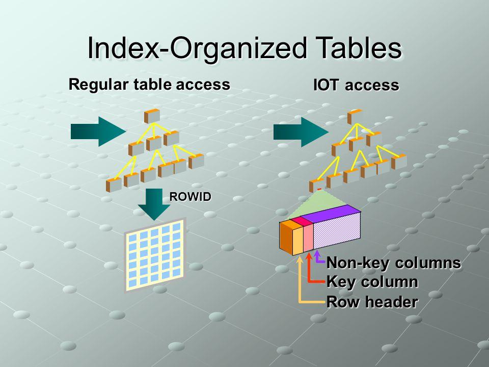 Regular table access ROWID Index-Organized Tables IOT access Non-key columns Key column Row header