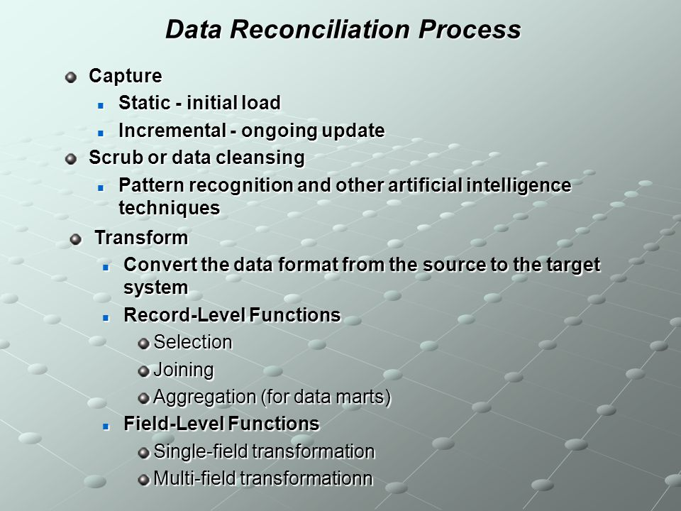 Data Reconciliation Process Capture Static - initial load Static - initial load Incremental - ongoing update Incremental - ongoing update Scrub or dat