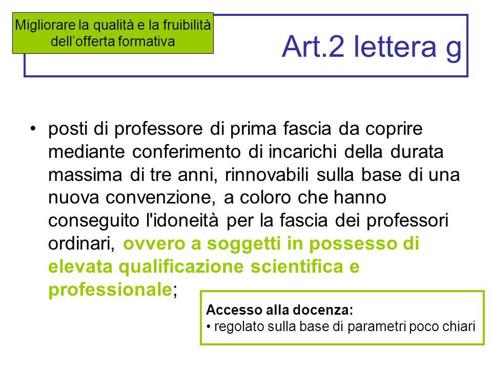 Art.2 lettera g posti di professore di prima fascia da coprire mediante conferimento di incarichi della durata massima di tre anni, rinnovabili sulla
