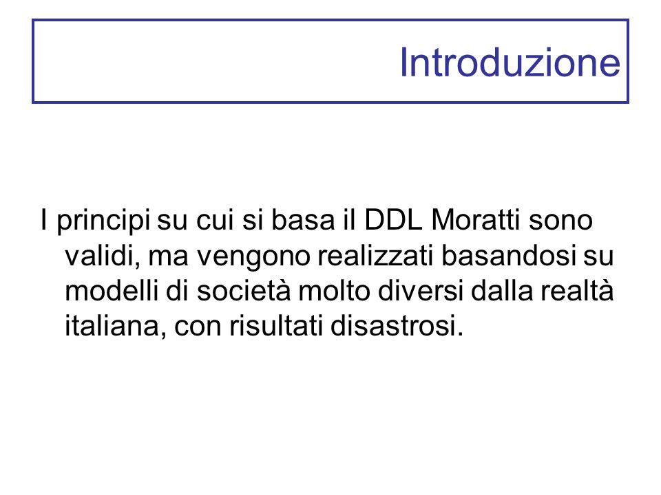 Introduzione I principi su cui si basa il DDL Moratti sono validi, ma vengono realizzati basandosi su modelli di società molto diversi dalla realtà italiana, con risultati disastrosi.