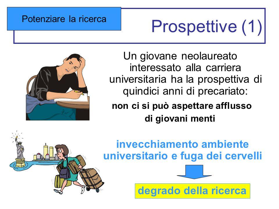 Prospettive (1) Un giovane neolaureato interessato alla carriera universitaria ha la prospettiva di quindici anni di precariato: non ci si può aspetta
