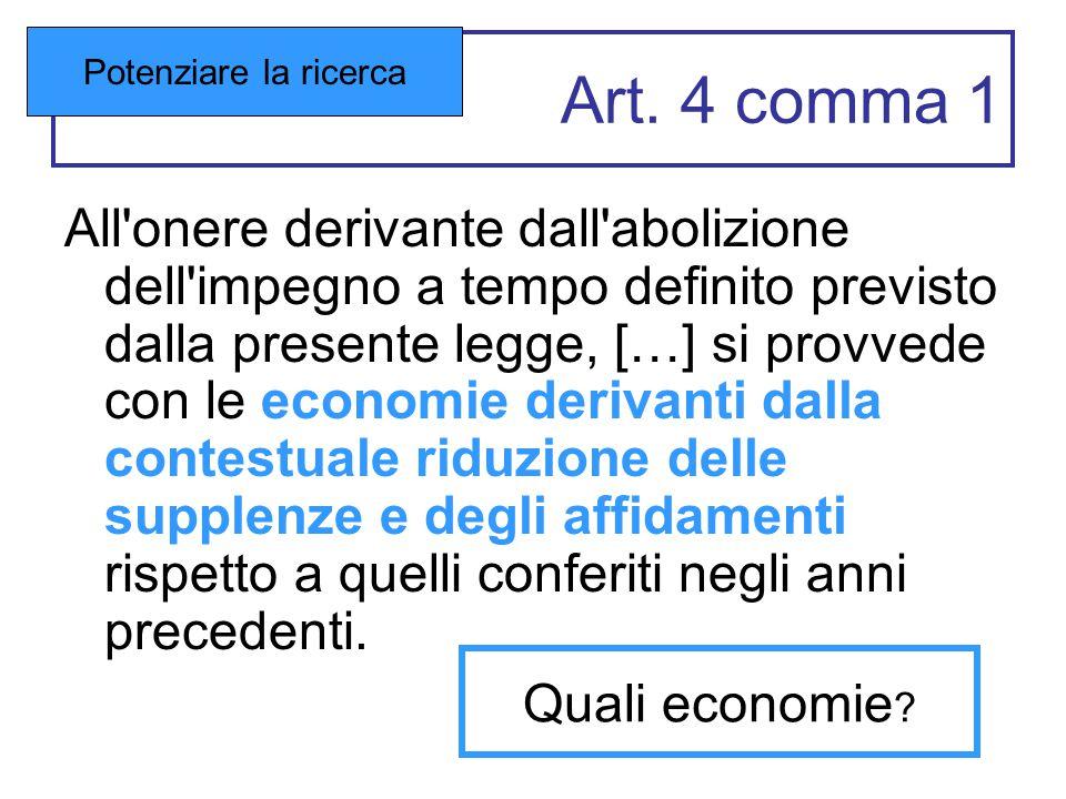 Art. 4 comma 1 All'onere derivante dall'abolizione dell'impegno a tempo definito previsto dalla presente legge, […] si provvede con le economie deriva