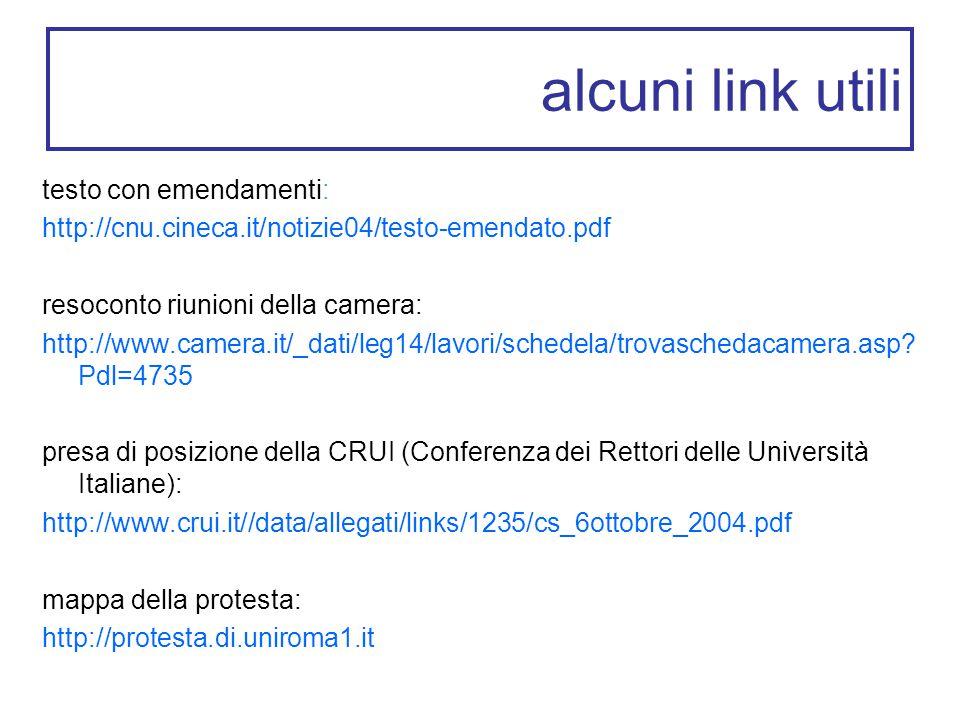 alcuni link utili testo con emendamenti: http://cnu.cineca.it/notizie04/testo-emendato.pdf resoconto riunioni della camera: http://www.camera.it/_dati/leg14/lavori/schedela/trovaschedacamera.asp.