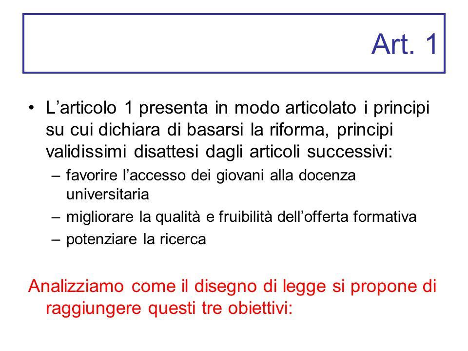 Art. 1 L'articolo 1 presenta in modo articolato i principi su cui dichiara di basarsi la riforma, principi validissimi disattesi dagli articoli succes