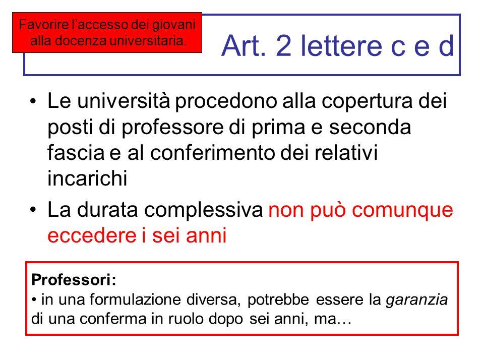 Art. 2 lettere c e d Le università procedono alla copertura dei posti di professore di prima e seconda fascia e al conferimento dei relativi incarichi