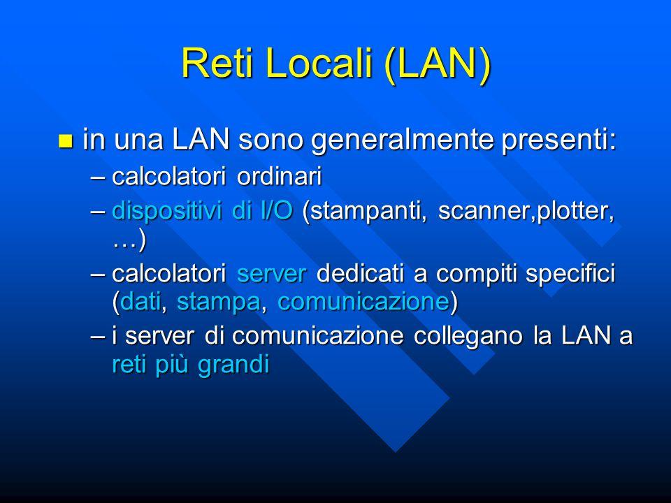 in una LAN sono generalmente presenti: in una LAN sono generalmente presenti: –calcolatori ordinari –dispositivi di I/O (stampanti, scanner,plotter, …