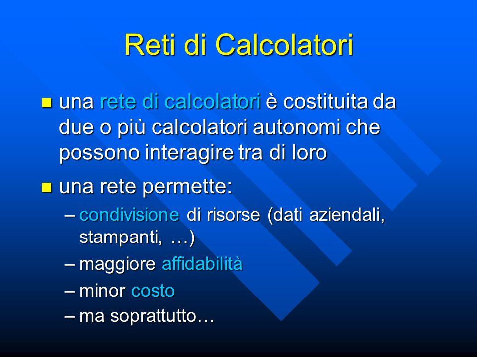 una rete di calcolatori è costituita da due o più calcolatori autonomi che possono interagire tra di loro una rete di calcolatori è costituita da due