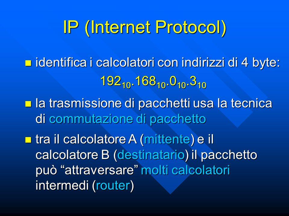 IP (Internet Protocol) identifica i calcolatori con indirizzi di 4 byte: identifica i calcolatori con indirizzi di 4 byte: 192 10.168 10.0 10.3 10 la