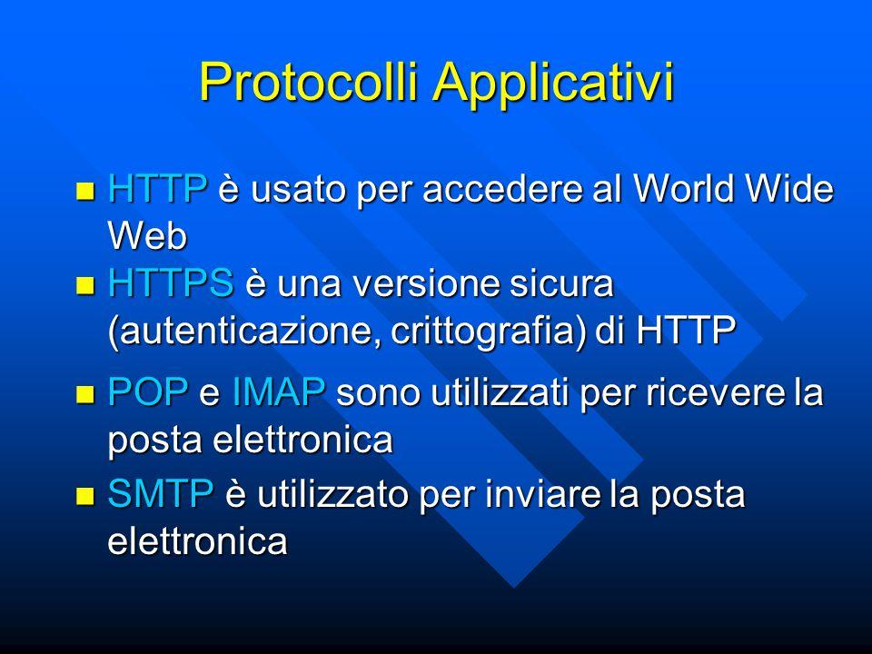 Protocolli Applicativi HTTP è usato per accedere al World Wide Web HTTP è usato per accedere al World Wide Web HTTPS è una versione sicura (autenticaz