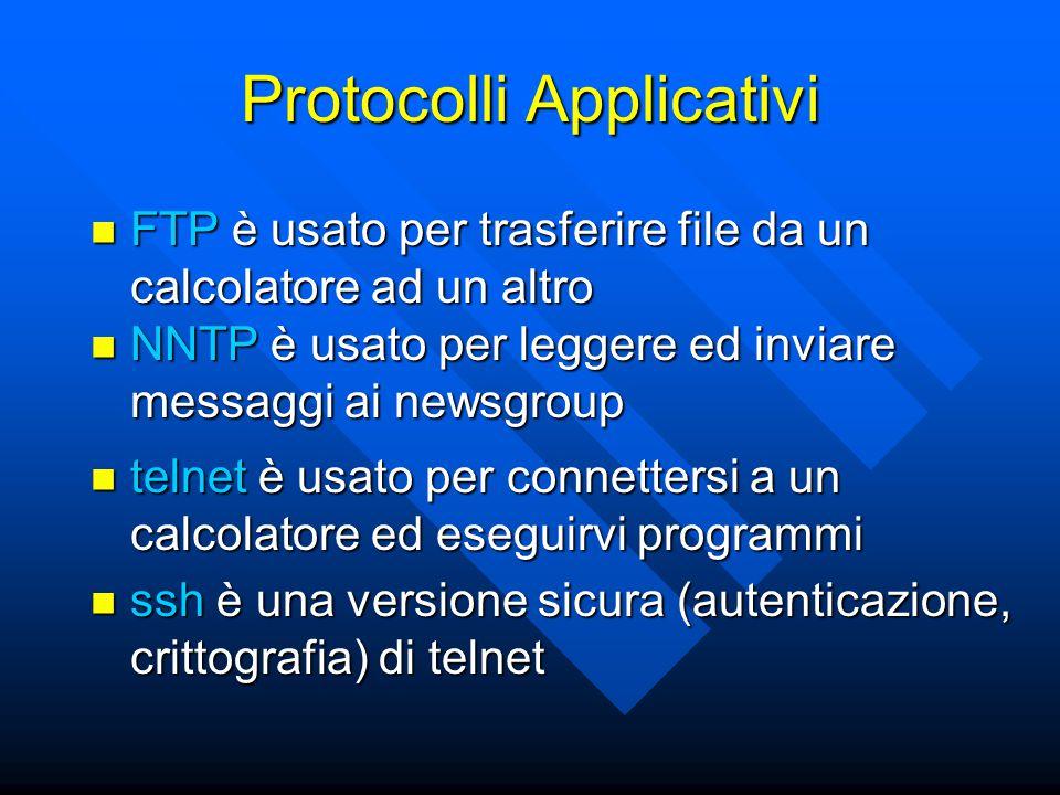 Protocolli Applicativi FTP è usato per trasferire file da un calcolatore ad un altro FTP è usato per trasferire file da un calcolatore ad un altro NNT
