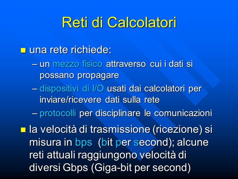 Reti di Calcolatori una rete richiede: una rete richiede: –un mezzo fisico attraverso cui i dati si possano propagare –dispositivi di I/O usati dai ca