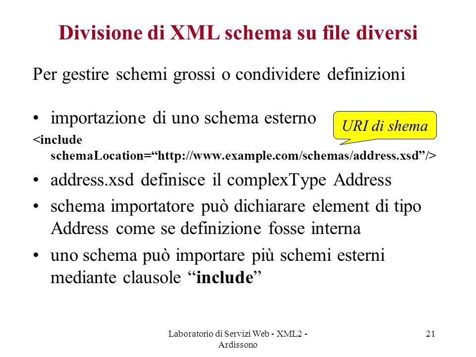 Laboratorio di Servizi Web - XML2 - Ardissono 21 Divisione di XML schema su file diversi Per gestire schemi grossi o condividere definizioni importazione di uno schema esterno address.xsd definisce il complexType Address schema importatore può dichiarare element di tipo Address come se definizione fosse interna uno schema può importare più schemi esterni mediante clausole include URI di shema