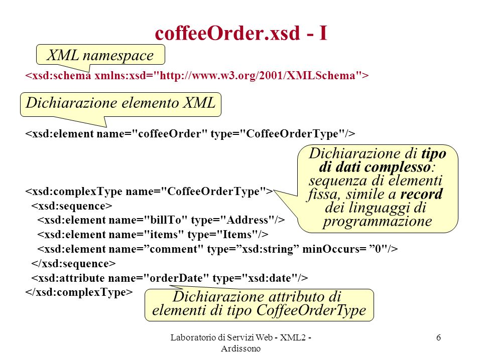 Laboratorio di Servizi Web - XML2 - Ardissono 7 coffeeOrder.xsd - II elementi del complexType sono obbligatori elementi devono apparire nei documenti nell'ordine specificato dal complexType complexType definibili a partire da simpleType e altri complexTypes (es: CoffeeOrderType usa Address, date,...) attributi possono solo essere di tipo simpleType Paolo Bianchi 123 via Po Torino
