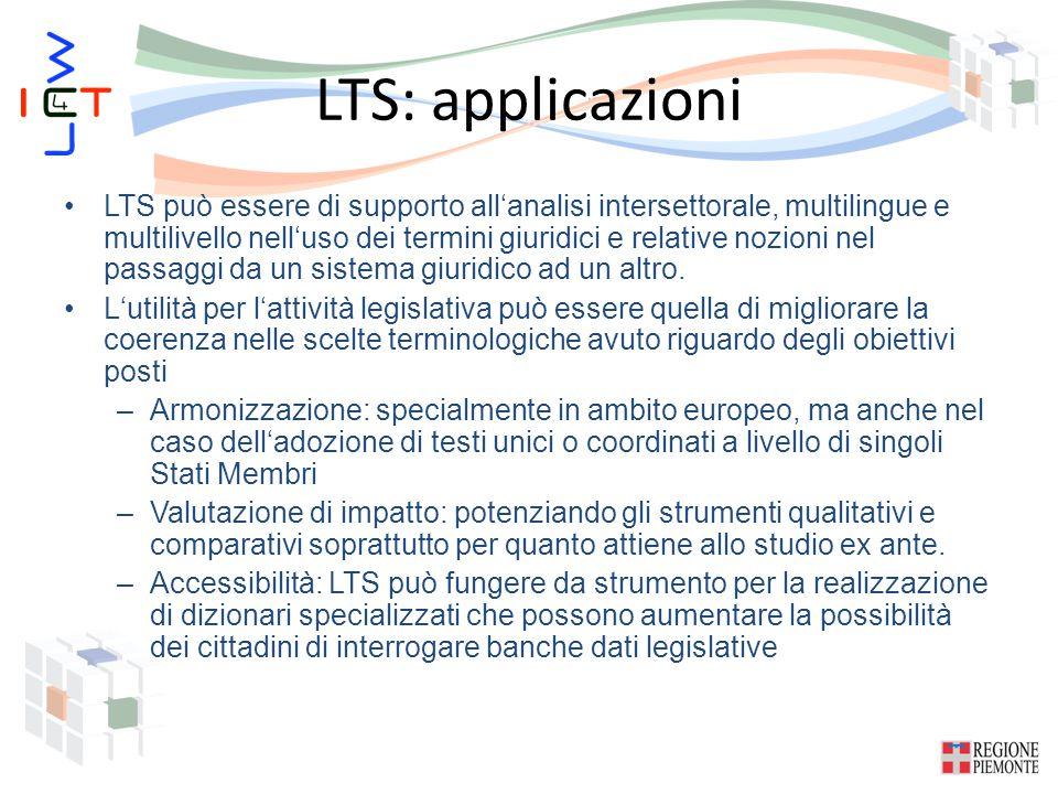 LTS: applicazioni LTS può essere di supporto all'analisi intersettorale, multilingue e multilivello nell'uso dei termini giuridici e relative nozioni