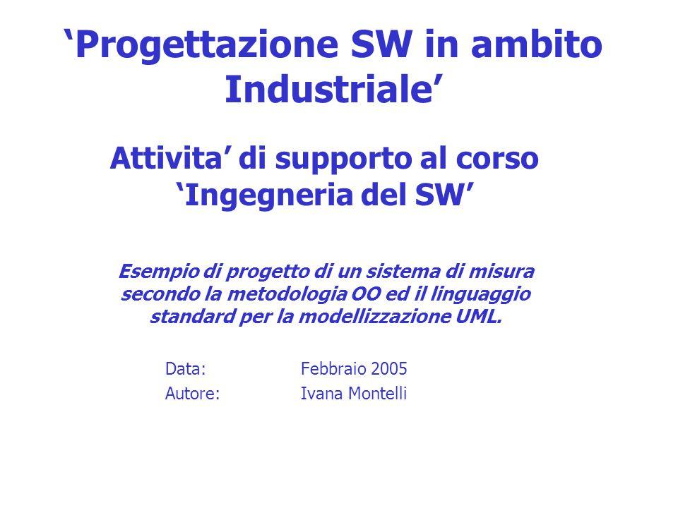 'Progettazione SW in ambito Industriale' Attivita' di supporto al corso 'Ingegneria del SW' Esempio di progetto di un sistema di misura secondo la metodologia OO ed il linguaggio standard per la modellizzazione UML.