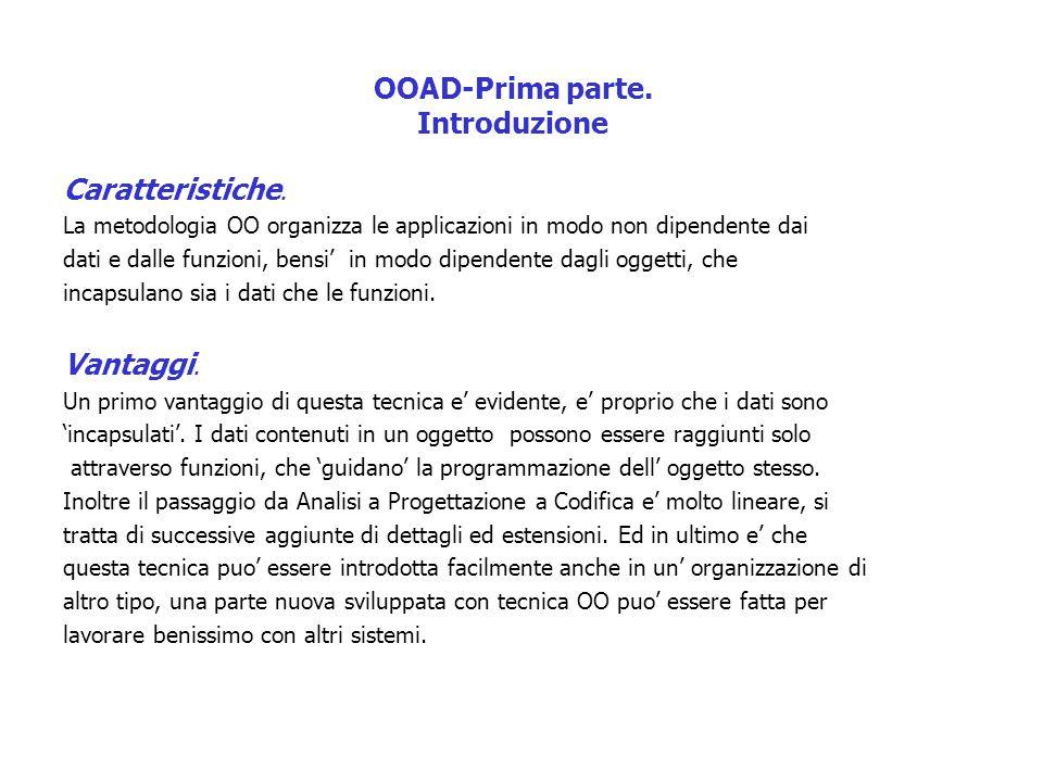 OOAD-Prima parte. Introduzione Caratteristiche. La metodologia OO organizza le applicazioni in modo non dipendente dai dati e dalle funzioni, bensi' i