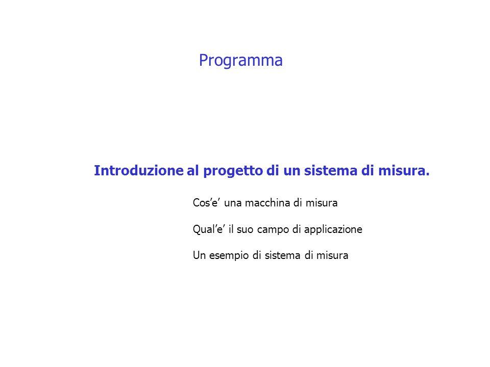 Programma Introduzione al progetto di un sistema di misura. Cos'e' una macchina di misura Qual'e' il suo campo di applicazione Un esempio di sistema d