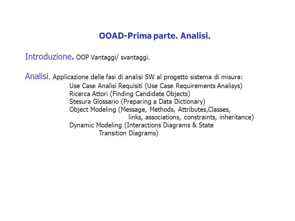 OOAD-Prima parte. Analisi. Introduzione. OOP Vantaggi/ svantaggi. Analisi. Applicazione delle fasi di analisi SW al progetto sistema di misura: Use Ca