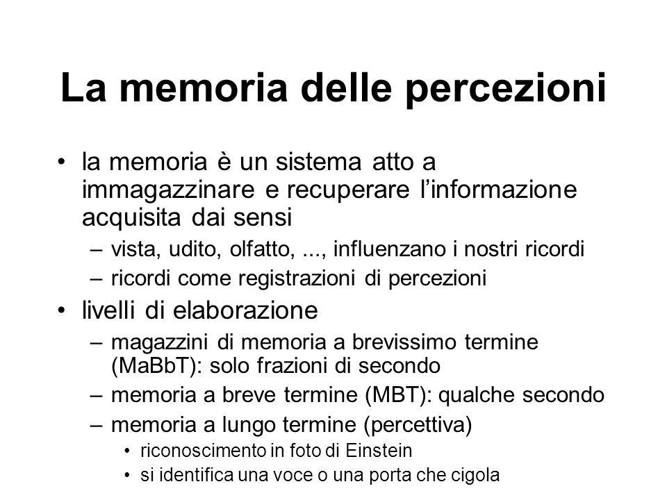 La memoria delle percezioni la memoria è un sistema atto a immagazzinare e recuperare l'informazione acquisita dai sensi –vista, udito, olfatto,..., influenzano i nostri ricordi –ricordi come registrazioni di percezioni livelli di elaborazione –magazzini di memoria a brevissimo termine (MaBbT): solo frazioni di secondo –memoria a breve termine (MBT): qualche secondo –memoria a lungo termine (percettiva) riconoscimento in foto di Einstein si identifica una voce o una porta che cigola