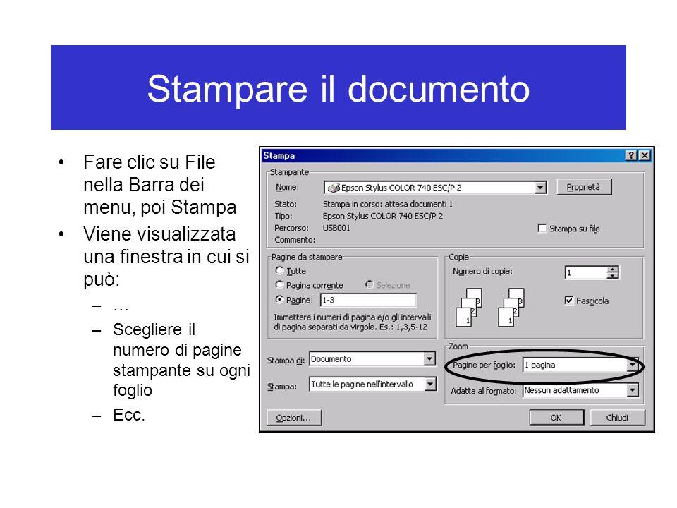 Stampare il documento Fare clic su File nella Barra dei menu, poi Stampa Viene visualizzata una finestra in cui si può: –… –Scegliere il numero di pagine stampante su ogni foglio –Ecc.