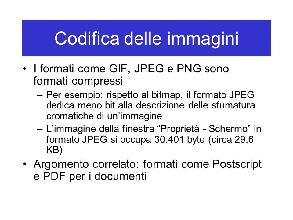 Codifica delle immagini I formati come GIF, JPEG e PNG sono formati compressi –Per esempio: rispetto al bitmap, il formato JPEG dedica meno bit alla d