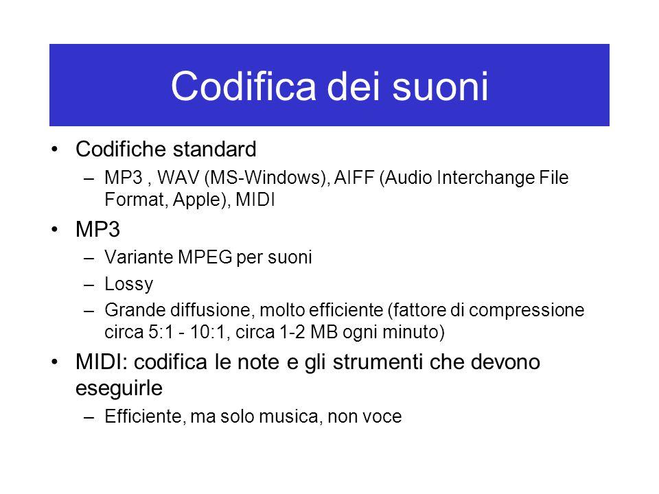 Codifica dei suoni Codifiche standard –MP3, WAV (MS-Windows), AIFF (Audio Interchange File Format, Apple), MIDI MP3 –Variante MPEG per suoni –Lossy –G