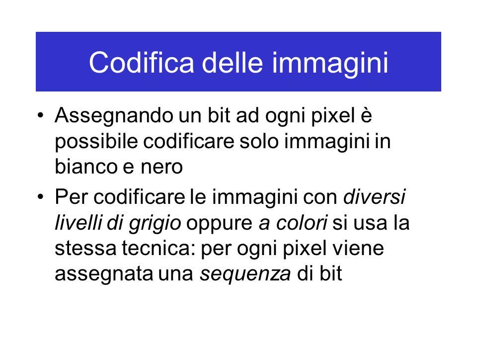 Codifica delle immagini Esistono delle tecniche di compressione che permettono di ridurre le dimensioni –Ad esempio, se più punti vicini di un'immagine assumono lo stesso colore, si può memorizzare la codifica del colore una sola volta e poi ricordare per quante volte deve essere ripetuta –Un esempio concreto - codifica run-length nel contesto delle immagini in bianco e nero: Usa numeri binari per specificare la lunghezza della prima sequenza di 0 (bianco) … poi quella della sequenza di 1 (nero) … poi quella della successiva sequenza di 0 … e così via