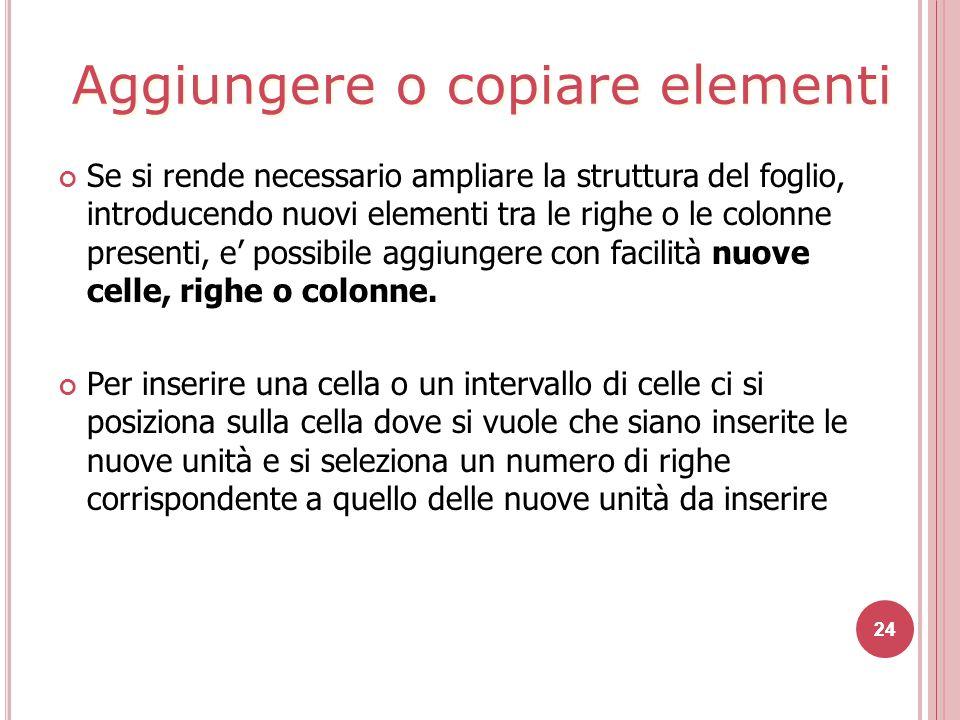 24 Se si rende necessario ampliare la struttura del foglio, introducendo nuovi elementi tra le righe o le colonne presenti, e' possibile aggiungere con facilità nuove celle, righe o colonne.