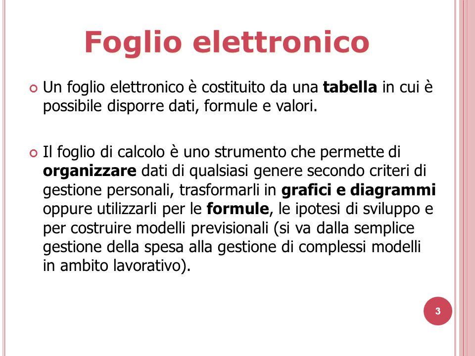 Un foglio elettronico è costituito da una tabella in cui è possibile disporre dati, formule e valori.
