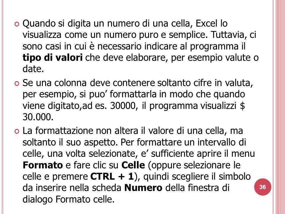 36 Quando si digita un numero di una cella, Excel lo visualizza come un numero puro e semplice.
