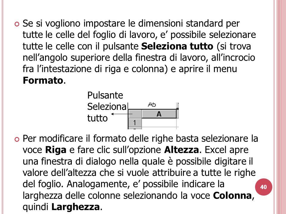 40 Se si vogliono impostare le dimensioni standard per tutte le celle del foglio di lavoro, e' possibile selezionare tutte le celle con il pulsante Seleziona tutto (si trova nell'angolo superiore della finestra di lavoro, all'incrocio fra l'intestazione di riga e colonna) e aprire il menu Formato.