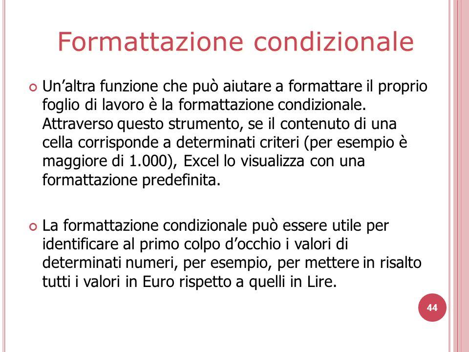 44 Un'altra funzione che può aiutare a formattare il proprio foglio di lavoro è la formattazione condizionale.