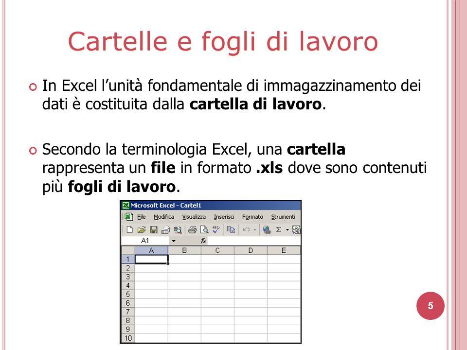 5 In Excel l'unità fondamentale di immagazzinamento dei dati è costituita dalla cartella di lavoro.
