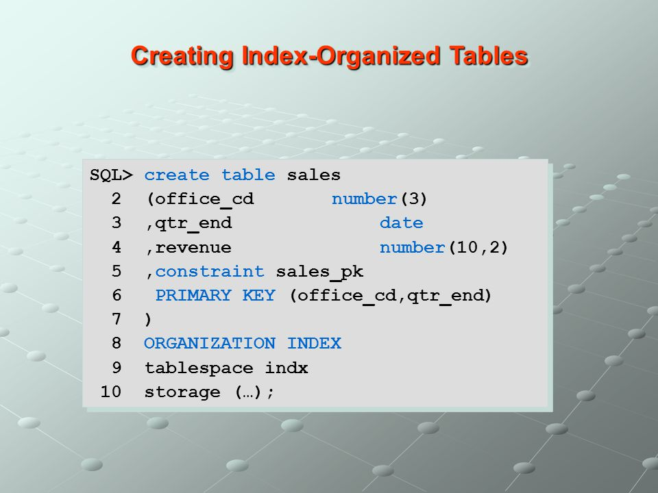 Creating Index-Organized Tables SQL> create table sales 2 (office_cd number(3) 3,qtr_enddate 4,revenuenumber(10,2) 5,constraint sales_pk 6 PRIMARY KEY