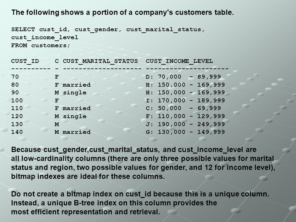The following shows a portion of a company's customers table. SELECT cust_id, cust_gender, cust_marital_status, cust_income_level FROM customers; CUST